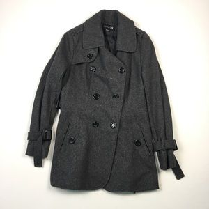 Forever 21 Womens Grey Peacoat L A1604